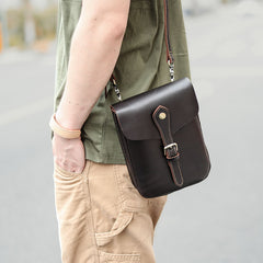 Dark Brown Vintage Leather Mens Small Messenger Bag Waist Bag Belt Pouch Bag For Men