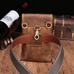 Cool Brown Leather Mens Mini Shoulder Bag Belt Pouch Waist Bag For Men
