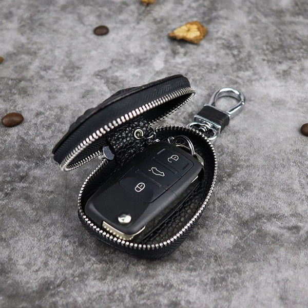 Black Leather Men's Key Wallet Zipper Car Key Case Car Holder For Men
