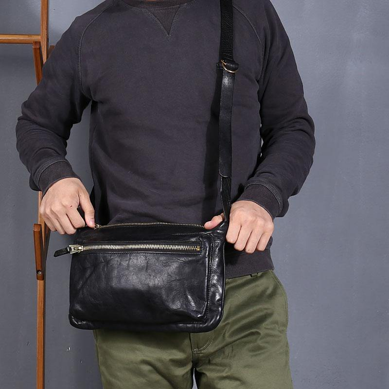Vintage Black Leather Mens Cool Small Side Bag Messenger Bag Brown Postman Courier Bag for Men
