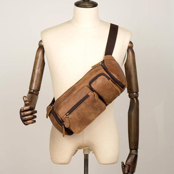 Cool Brown Leather Mens Large Fanny Pack Barrel Waist Bag Chest Bag Hip Pack Bum Pack for men