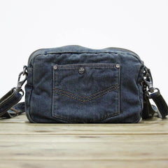 Blue Denim Mens Casual Side Bag Small Messenger Bags Jean Postman Bags Courier Bag For Men