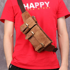 Badass Leather Fanny Pack Men's Brown Hip Bag Chest Bag Bum Bag Waist Bag For Men