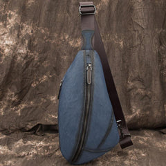 Brown Cool LEATHER MENS Retro Tan Sling Bag One Shoulder Backpack Blue Chest Bags For Men