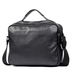Cool Black Leather 11 inches Mens Small Messenger Bags Courier Bag Shoulder Briefcase for Men
