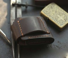 Handmade Leather Mens Standard Zippo Lighter Case With Belt Loop Zippo Cool Standard Lighter Holders For Men