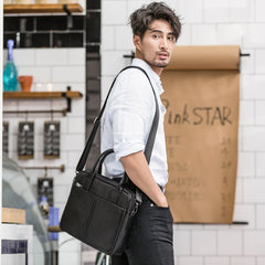 Black Leather Mens 12 inches Briefcase Work Bag Black Laptop Handbag Business Briefcase Shoulder Handbag for Men