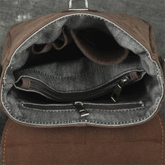 Badass Dark Brown Leather Men's 8 inches Small Side Bag Vertical Postman Messenger Bag For Men