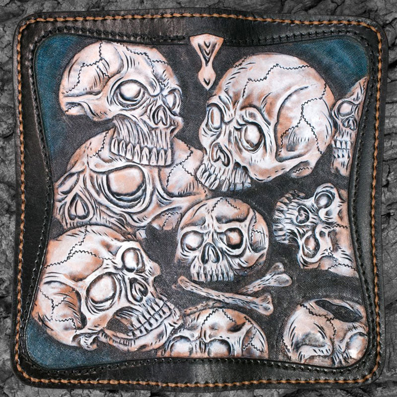 Handmade Leather Men Tooled Skull Halley Cool Leather Wallet Long Phone Wallets for Men