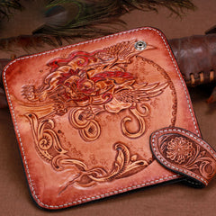 Handmade Leather Kylin Mens Chain Biker Wallet Cool Leather Wallet With Chain Wallets for Men