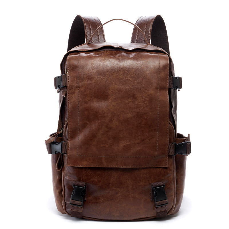 Brown Leather Mens 15 inches Cool Backpack Travel Backpack School Backpack for men