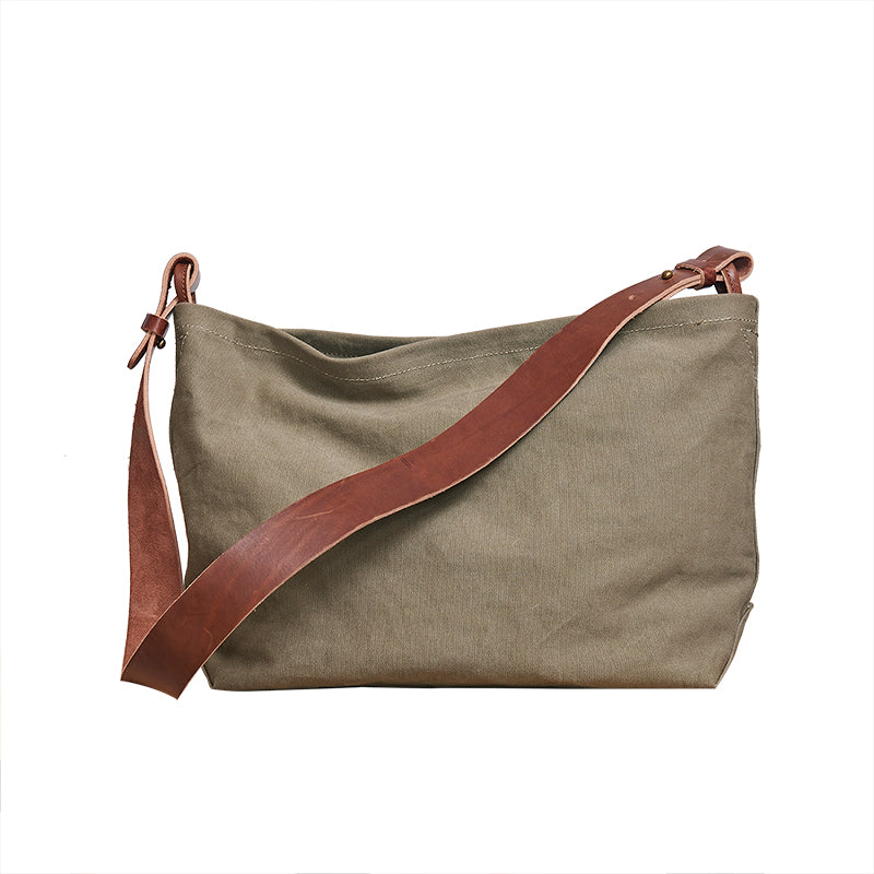 Cool Canvas Leather Mens Side Bag 14 inches Green Canvas Courier Bags Canvas Messenger Bag for Men