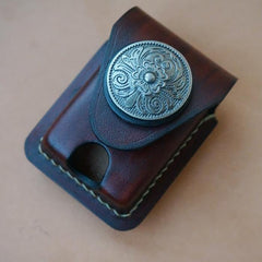 Mens Leather Coffee Handmade Armor Zippo Lighter Case Zippo Lighter Holder with Belt Loop for Men