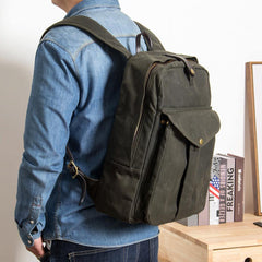 Army Green Canvas Mens Large 14'' Laptop Backpack College Backpack Hiking Backpack for Men