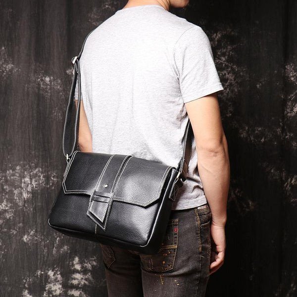 Cool Black LEATHER MENS Ipad SIDE BAGS COURIER BAG Black MESSENGER BAG FOR MEN