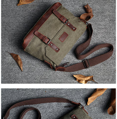 Casual Canvas Mens Womens Simple 10'' Side Bag Green Courier Bag Messenger Bag Backpack for Men