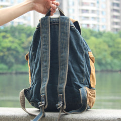 Fashion Denim Blue Mens Large Backpack Laptop Backpack Blue Jean Travel Backpacks For Men