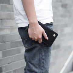 Casual Leather Men's Black Trifold Long Wallet Passport Wallet For Men