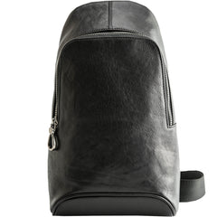 Black Cool Leather Mens Sling Bag Chest Bag Black One Shoulder Backpack Sling Pack for Men