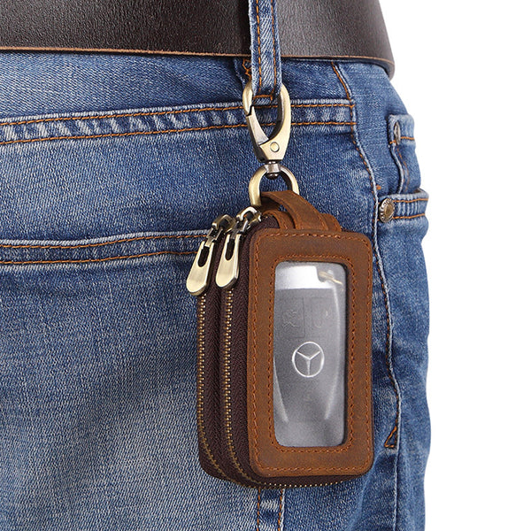 Cool Brown Mens Zipper Leather Car Key Wallet Key Holder Change Holder For Men