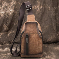 Brown Cool LEATHER MENS 8 inches Tan Sling Bag One Shoulder Backpack Blue Chest Bag For Men