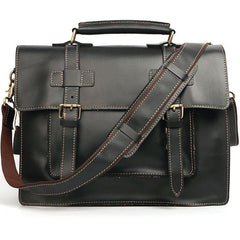Vintage Black Mens Leather Briefcases Work Handbags Brown 14'' Computer Briefcase For Men