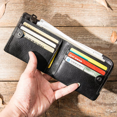 Black Leather Mens Small Wallet Front Pocket Wallet Black Bifold Slim billfold Wallet for Men
