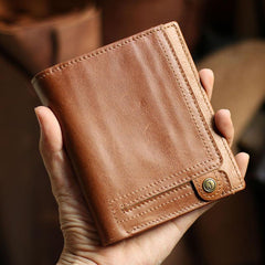 Casual Brown Leather Mens billfold Wallet Trifold SMall Wallet Black Front Pocket Wallet For Men