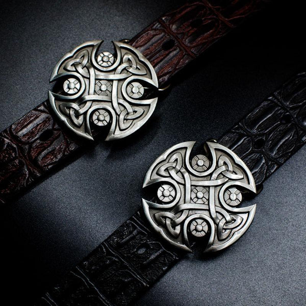 Handmade Genuine Leather Punk Rock Ancient Totem Mens Cool Men Biker Trucker Leather Belt