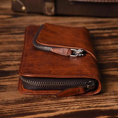 Handmade Leather Mens Cool Long Leather Wallet Zipper Phone Clutch Wallet for Men