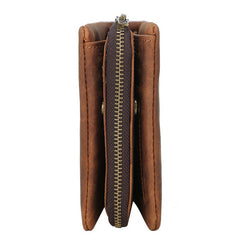 Vintage Leather Mens Bifold Small Wallet Short Wallet Within Detachable Coin Holder for Men