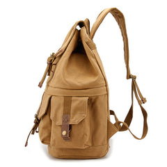 Khaki CANVAS WATERPROOF Womens 15'' MENS BACKPACK LARGE School Backpack Hiking Backpack FOR MEN