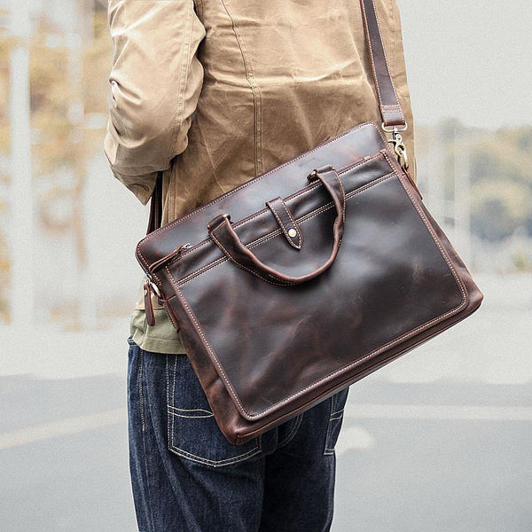 Vintage Dark Brown Mens Leather Briefcase Work Handbags Black 14'' Computer Briefcases For Men