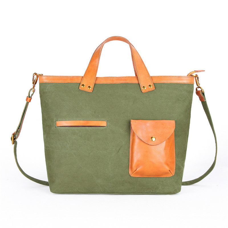"Canvas Leather Mens 14"" Caramel Briefcase Bag Tote Shoulder Bag Green Tote Bag for Men"