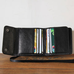 Genuine Leather Mens Cool Short Leather Wallet Men Small Wallets Trifold for Men