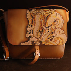 Brown Handmade Ganesha Tooled Leather Courier Bag Messenger Bag Side Bag For Men