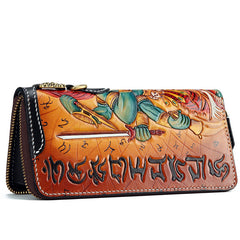 Handmade Leather Tooled Ucchusma Mens Chain Biker Wallet Cool Leather Wallet Zipper Long Phone Wallets for Men