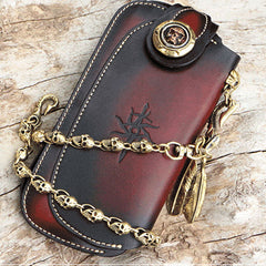 Handmade Mens Cool Leather Chain Wallet Biker Trucker Wallet with Chain