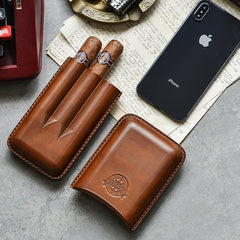 Cool Green Leather Mens 3pcs Cigar Case Cool Custom Leather Cigar Case for Men