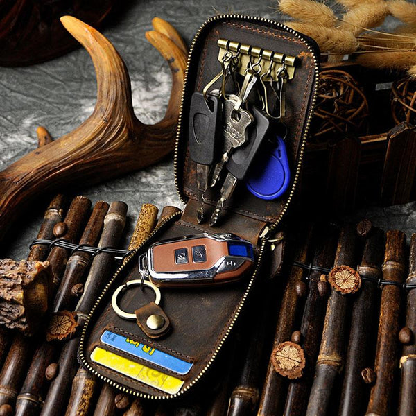Vintage Leather Mens Small Key Zipper Wallets Cool Card Wallet for Men