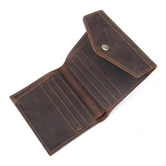 Dark Brown Small MENS LEATHER Bifold Wallet Card Brown Short Wallet FOR MEN