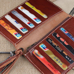 Handmade Leather Mens Long Chain Biker Wallet Cool Leather Wallet Slim Wallets for Men