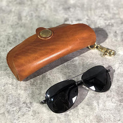 Handmade Mens Cool Brown Leather Glasses Case Glasses Box Black Glasses Holder Sunglasses Case for Men