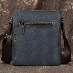 Cool Brown Leather Men's 10 inches Vertical Side Bag Blue Business Messenger Bag Courier Bag For Men