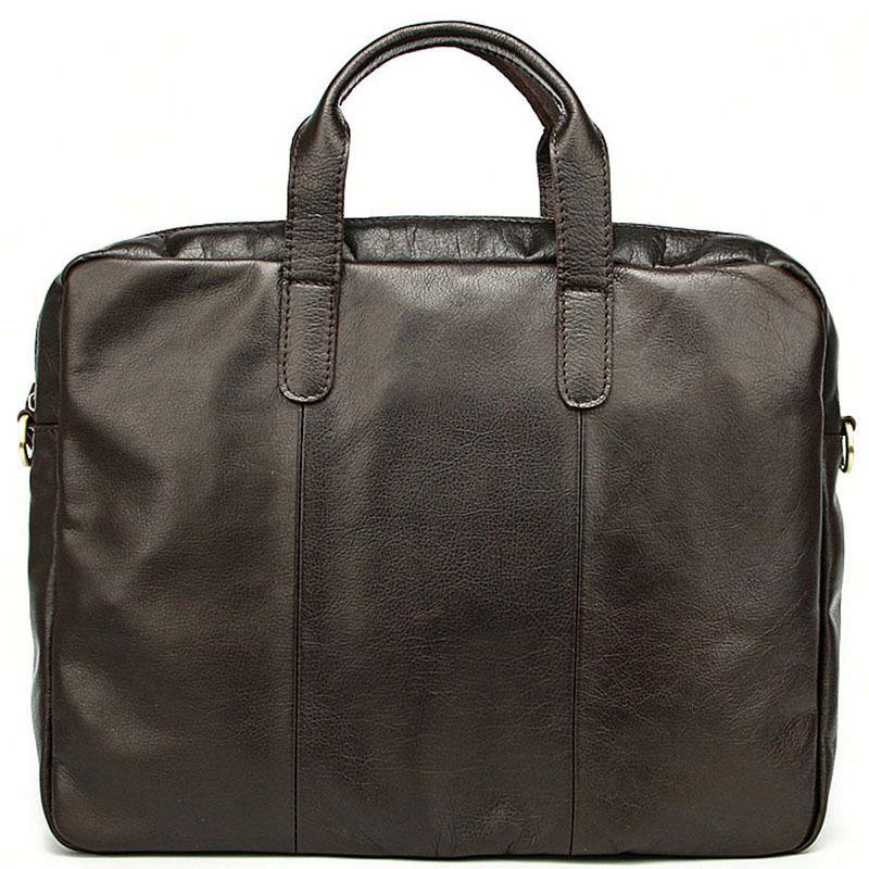 Vintage Coffee Mens Leather Briefcase Work Handbag Black 14'' Laptop Briefcases For Men