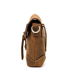 Cool Brown Leather 8 inches Mens Small Courier Bag Messenger Bags Postman Bags for Men