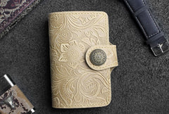 Handmade Leather Floral Mens Cool Short Wallet Card Holder Small Card Slim Wallets for Men