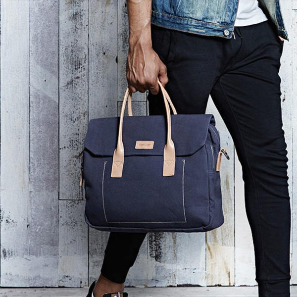 Navy Blue Canvas Leather Mens Briefcase Messenger Bags Khaki Casual Shoulder Bag for Men