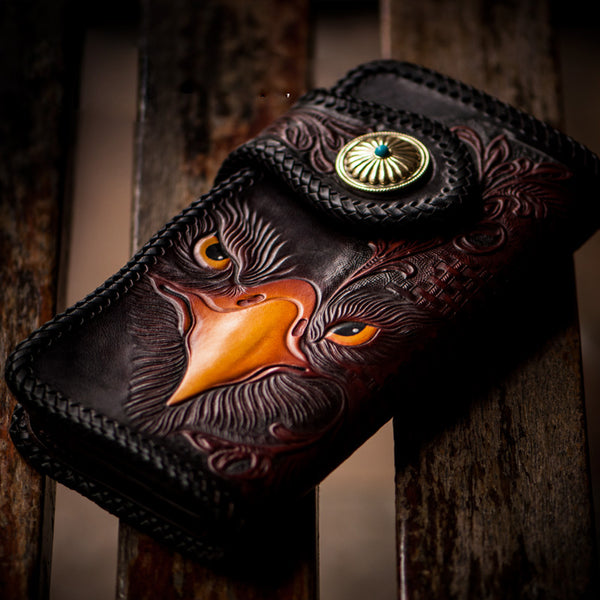 Handmade Leather Eagle Tooled Mens Chain Biker Wallet Cool Leather Wallet With Chain Wallets for Men