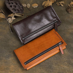 Cool Brown Leather Mens Long Wallet Clutch Wallet Retro Coffee  Clutch Wallet for Men